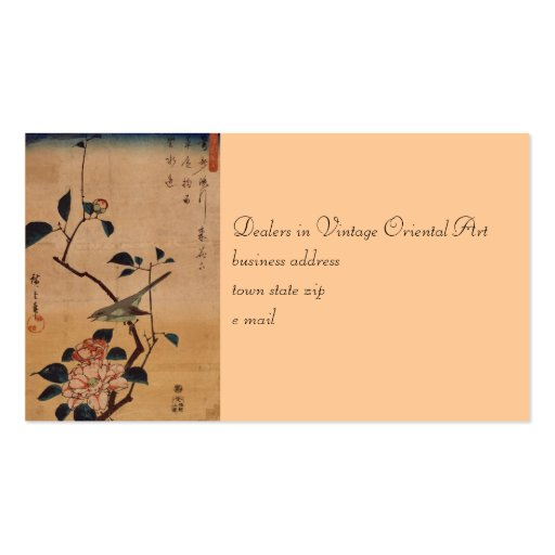 Oriental Camellia and Warbler Business Card Templates