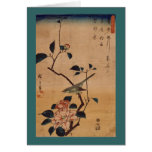 Oriental Camellia and Warbler Greeting Card