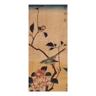 Oriental Camellia and Warbler Rack Card Design