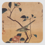 Oriental Camellia and Warbler Square Sticker
