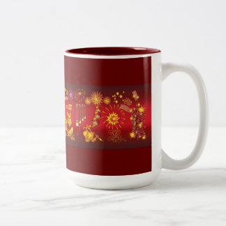 oriental celebrations red gold special fun party Two-Tone coffee mug