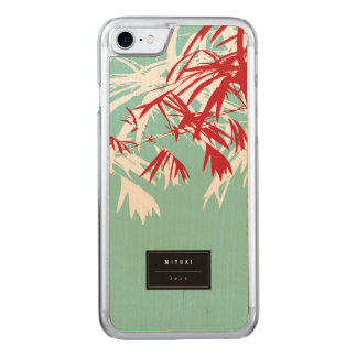 Oriental Chic Modern Zen Red Bamboo Leaves Carved iPhone 7 Case