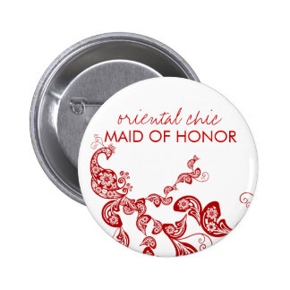 Oriental Chic Red Floral Peacock Wedding Name Tag Button