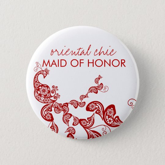 Oriental Chic Red Floral Peacock Wedding Name Tag Pinback Button