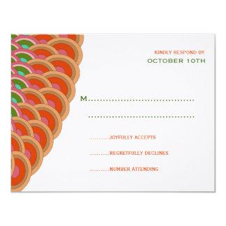 Oriental Chic Red Scalloped Fan Wedding RSVP Card