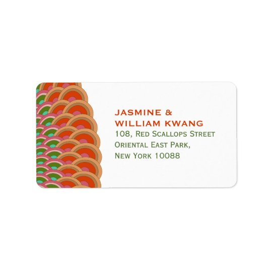 Oriental Chic Scalloped Fan Wedding Address Labels