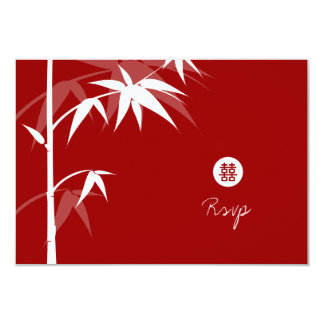 Oriental Chinese Asian Bamboo Tree Wedding RSVP 3.5x5 Paper Invitation Card