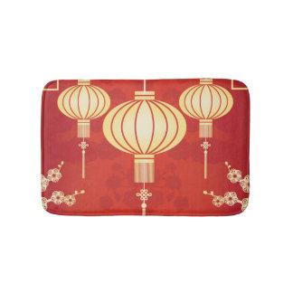 Oriental Chinese Lantern Illustration Bath Mat