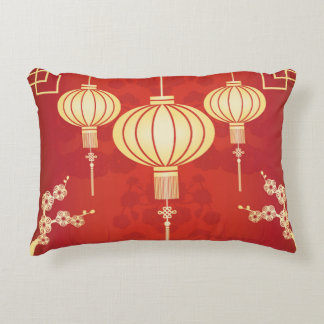 Oriental Chinese Lantern Illustration Decorative Pillow