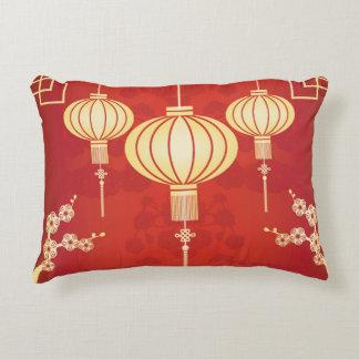Oriental Chinese Lantern Illustration Accent Pillow