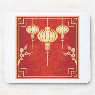 Oriental Chinese Lantern Illustration Mouse Pad