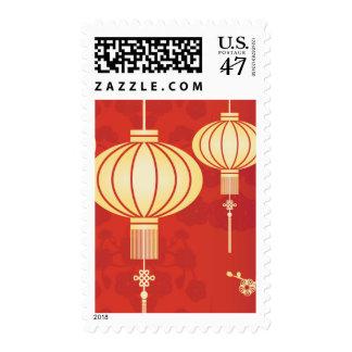 Oriental Chinese Lantern Illustration Postage