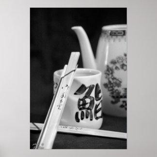 Oriental Chop Sticks & Cup Poster