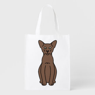 Oriental Cinnamon & Fawn Cat Cartoon Grocery Bag