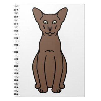 Oriental Cinnamon & Fawn Cat Cartoon Note Books