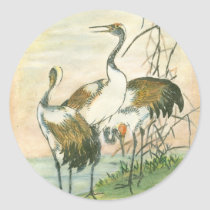 Oriental Cranes by the Water Classic Round Sticker