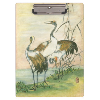 Oriental Cranes by the Water Clipboard