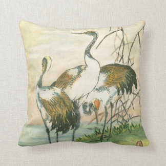 Oriental Cranes by the Water Throw Pillow