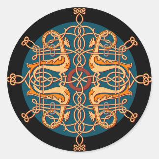 Oriental design classic round sticker