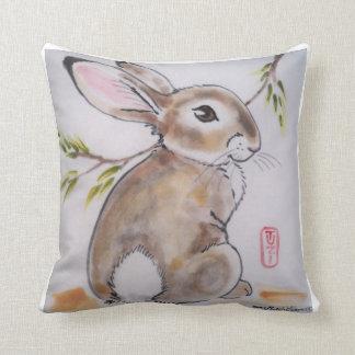 Oriental Design Rabbit Pillow, Original Artwork Throw Pillow