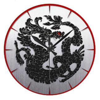 Oriental Dragon Black Large Clock