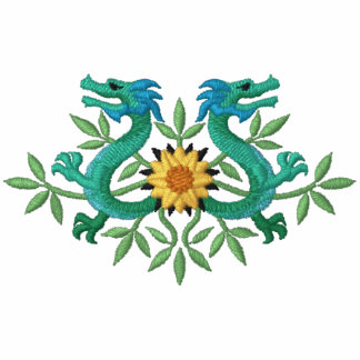 Oriental Dragon Flowers Embroidered Hooded Sweatshirts
