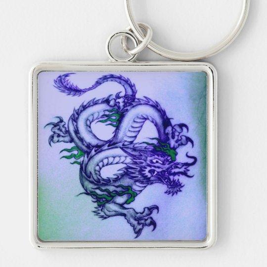 Oriental Dragon In Purple Keychain