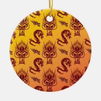 Oriental Dragons Creatures Pattern Maroon Gold Ceramic Ornament