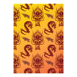 Oriental Dragons Creatures Pattern Maroon Gold Cards
