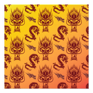 Oriental Dragons Creatures Pattern Maroon Gold Personalized Invites