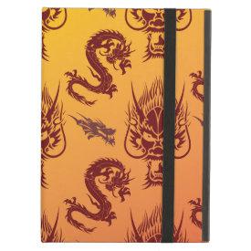 Oriental Dragons Creatures Pattern Maroon Gold iPad Folio Case