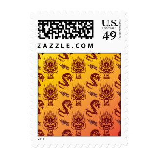 Oriental Dragons Creatures Pattern Maroon Gold Stamps