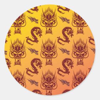 Oriental Dragons Creatures Pattern Maroon Gold Round Stickers