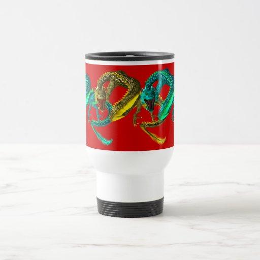 oriental dragons travel mug