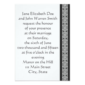 "Oriental Elegance in Black Wedding Invitation 5"" X 7"" Invitation Card"