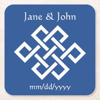 Oriental Elegance in Blue Paper Coaster Square Paper Coaster