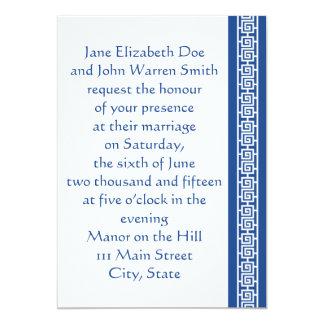 "Oriental Elegance in Blue Wedding Invitation 5"" X 7"" Invitation Card"