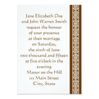 "Oriental Elegance in Chocolate Wedding Invitation 5"" X 7"" Invitation Card"