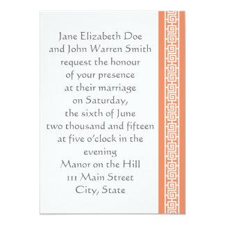"Oriental Elegance in Coral Wedding Invitation 5"" X 7"" Invitation Card"