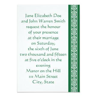 "Oriental Elegance in Green Wedding Invitation 5"" X 7"" Invitation Card"