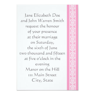 "Oriental Elegance in Petal Pink Wedding Invitation 5"" X 7"" Invitation Card"