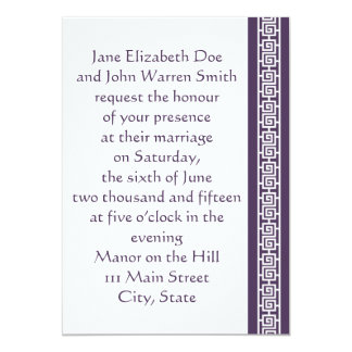 "Oriental Elegance in Purple Wedding Invitation 5"" X 7"" Invitation Card"
