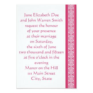 "Oriental Elegance in Raspberry Wedding Invitation 5"" X 7"" Invitation Card"