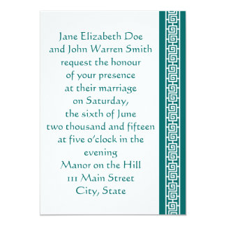 "Oriental Elegance in Teal Wedding Invitation 5"" X 7"" Invitation Card"