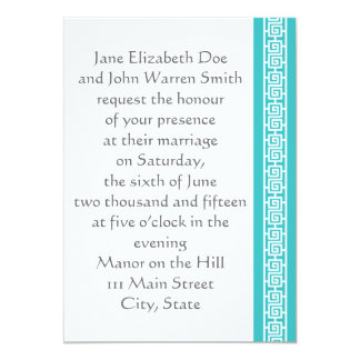 "Oriental Elegance in Turquoise Wedding Invitation 5"" X 7"" Invitation Card"