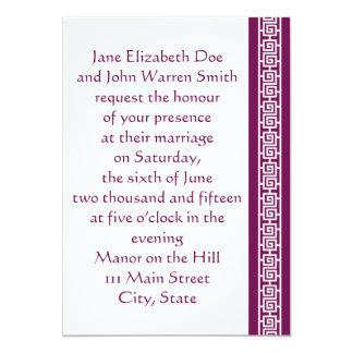 "Oriental Elegance in Wine Wedding Invitation 5"" X 7"" Invitation Card"