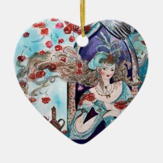 ORIENTAL FAIRY TALE Blue Sapphire Heart Christmas Ornaments