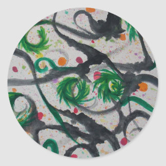 Oriental Fir Tree Classic Round Sticker