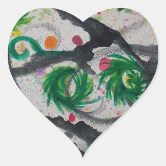 Oriental Fir Tree Heart Sticker