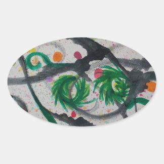 Oriental Fir Tree Oval Sticker